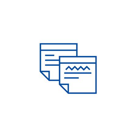 Sticker notes line concept icon. Sticker notes flat  vector website sign, outline symbol, illustration.