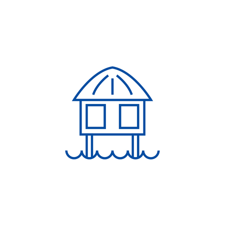 Stilt house line concept icon. Stilt house flat  vector website sign, outline symbol, illustration.