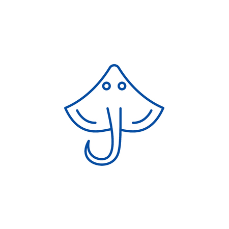 Stingray line concept icon. Stingray flat  vector website sign, outline symbol, illustration. Фото со стока - 119920350