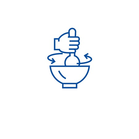 Stirring pot line concept icon. Stirring pot flat  vector website sign, outline symbol, illustration.