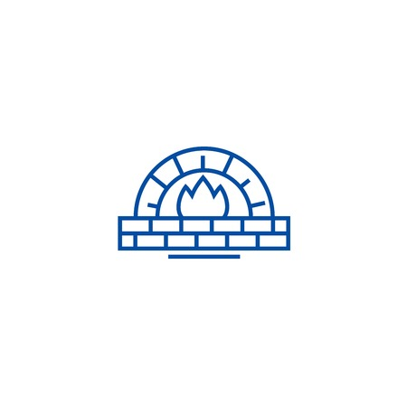 Stone oven line concept icon. Stone oven flat  vector website sign, outline symbol, illustration. Banque d'images - 119920218
