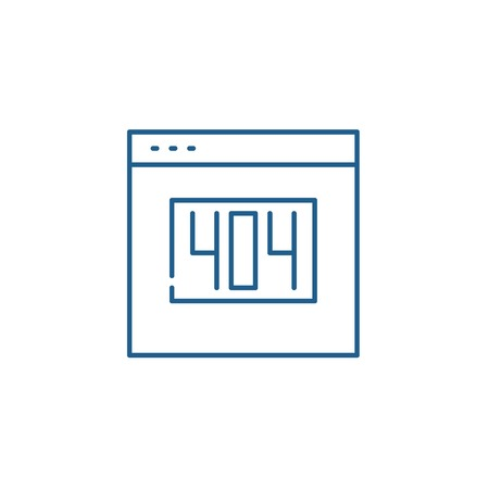 404 error line concept icon. 404 error flat  vector website sign, outline symbol, illustration.