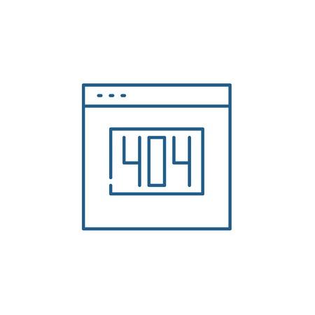404 error line concept icon. 404 error flat  vector website sign, outline symbol, illustration.