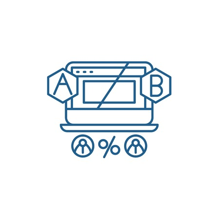 Ab testing line concept icon. Ab testing flat  vector website sign, outline symbol, illustration.
