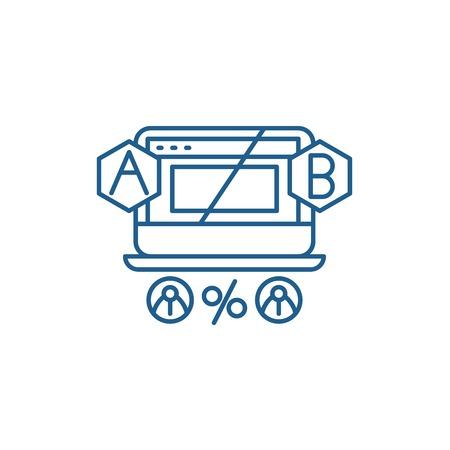 Ab testing line concept icon. Ab testing flat  vector website sign, outline symbol, illustration.