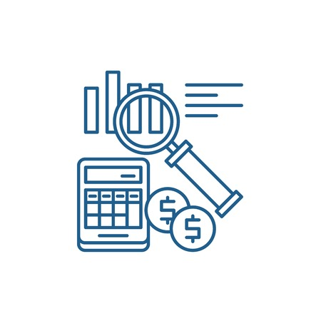 Accounting line concept icon. Accounting flat  vector website sign, outline symbol, illustration.