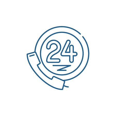 24 hour client support line concept icon. 24 hour client support flat  vector website sign, outline symbol, illustration.