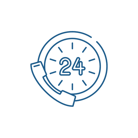 24,service,communication,icon,support,time,sign,assistance,clock,help,symbol,day,customer,business,concept,call,phone,vector,contact,button, icon, line, vector, sign, flat