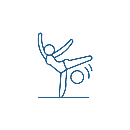 Acrobatics line concept icon. Acrobatics flat  vector website sign, outline symbol, illustration. Illusztráció