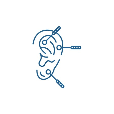 Acupuncture line concept icon. Acupuncture flat  vector website sign, outline symbol, illustration. Stock Illustratie