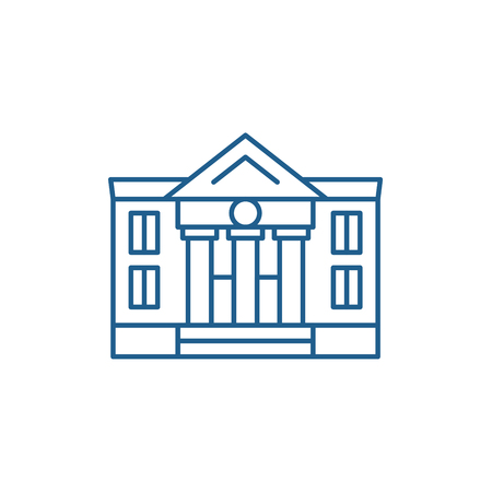 Administrative building line concept icon. Administrative building flat  vector website sign, outline symbol, illustration.