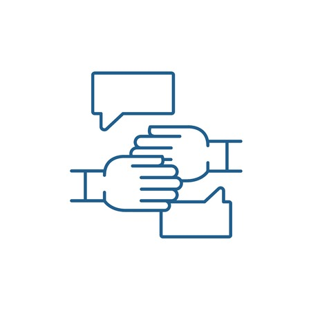 Agreement of intent line concept icon. Agreement of intent flat  vector website sign, outline symbol, illustration. 스톡 콘텐츠 - 119920171