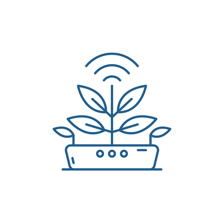 Icona del concetto di linea di tecnologia agro. La tecnologia Agro piatto vettore sito web segno, simbolo di contorno, illustrazione.