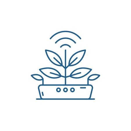Icono de concepto de línea de tecnología agrícola. Sitio web de vector plano de tecnología agrícola, signo, símbolo de contorno, Ilustración.