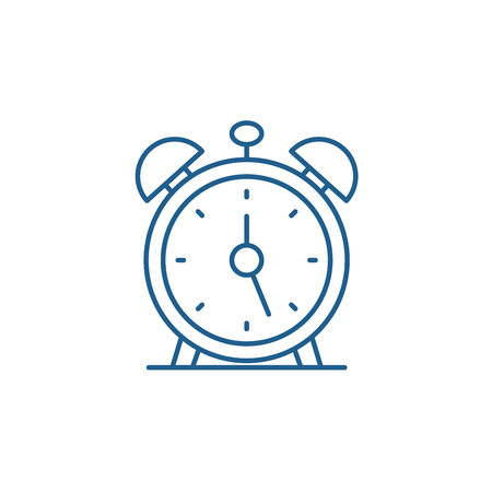 Alarm clock line concept icon. Alarm clock flat  vector website sign, outline symbol, illustration.