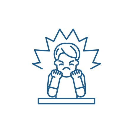 Icône de concept de ligne de colère. Télévision vecteur de colère signe site Web, symbole du contour, illustration.