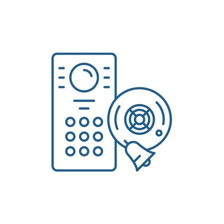 Alarm system line concept icon. Alarm system flat  vector website sign, outline symbol, illustration.