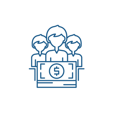 Annual bonus line concept icon. Annual bonus flat  vector website sign, outline symbol, illustration.