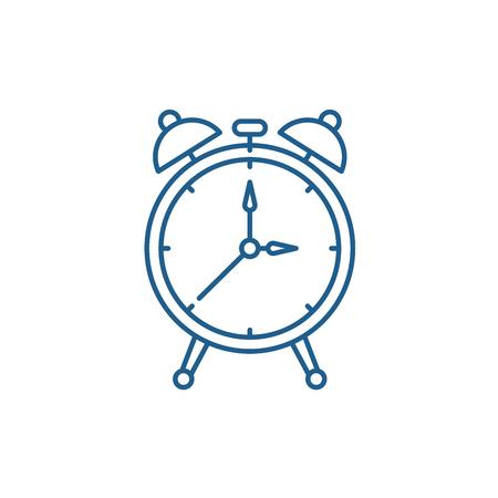 Alarm watch line concept icon. Alarm watch flat  vector website sign, outline symbol, illustration.