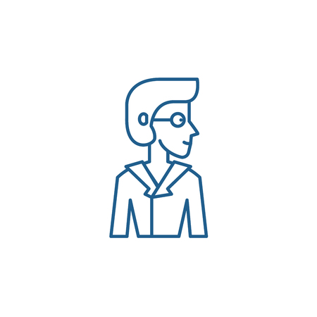 Analyst line concept icon. Analyst flat  vector website sign, outline symbol, illustration.
