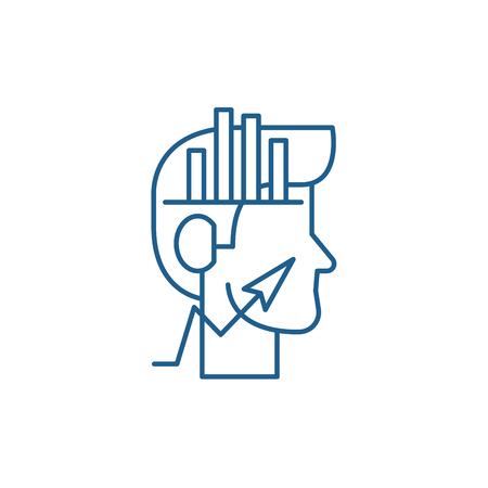 Analytical thinking line concept icon. Analytical thinking flat  vector website sign, outline symbol, illustration.