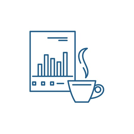 ANALYTICAL WORK line concept icon. ANALYTICAL WORK flat  vector website sign, outline symbol, illustration. Illustration