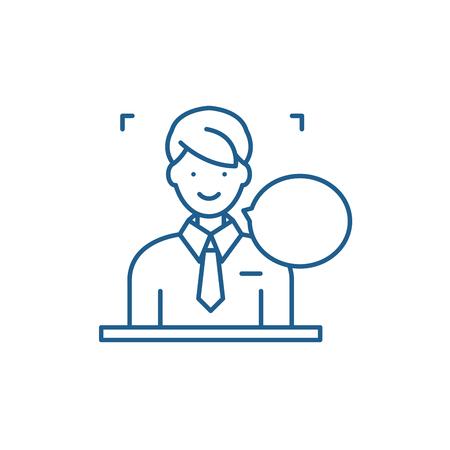 Réponses sur l'icône de concept de ligne de questions. Réponses aux questions vector plate signe de site Web, symbole du contour, illustration.