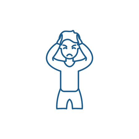 Anxiety line concept icon. Anxiety flat  vector website sign, outline symbol, illustration. Illustration