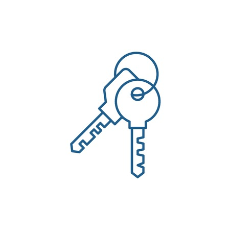 Apartment keys line concept icon. Apartment keys flat  vector website sign, outline symbol, illustration.