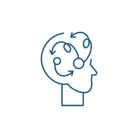 Algorithmic thinking line concept icon. Algorithmic thinking flat  vector website sign, outline symbol, illustration. Illustration