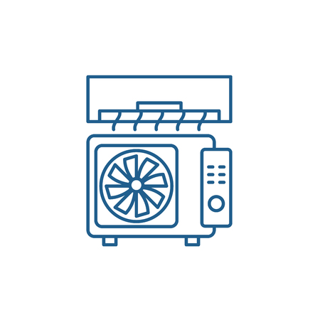 Air conditioning line concept icon. Air conditioning flat  vector website sign, outline symbol, illustration.