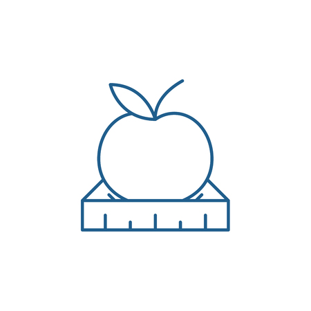 Apple with a ruler line concept icon. Apple with a ruler flat  vector website sign, outline symbol, illustration.