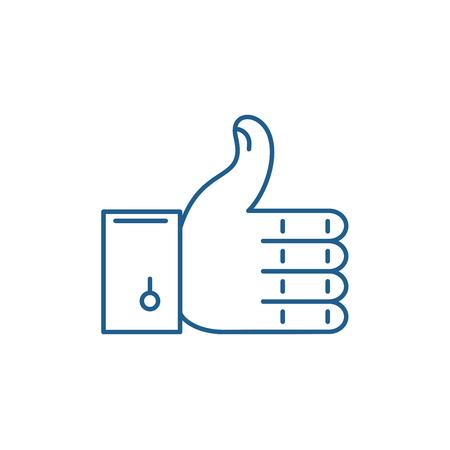 Approval line concept icon. Approval flat  vector website sign, outline symbol, illustration.