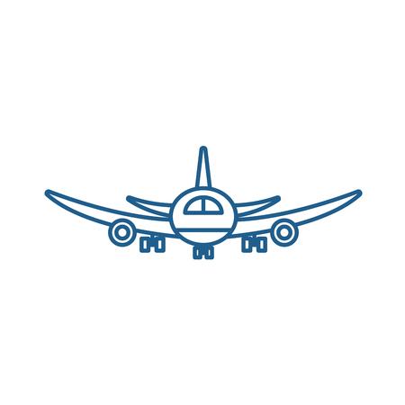 Airplane flight line concept icon. Airplane flight flat  vector website sign, outline symbol, illustration.