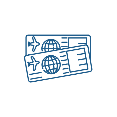 Airplane tickets line concept icon. Airplane tickets flat vector website sign, outline symbol, illustration.