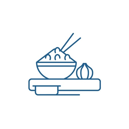 Asian food line concept icon. Asian food flat  vector website sign, outline symbol, illustration.