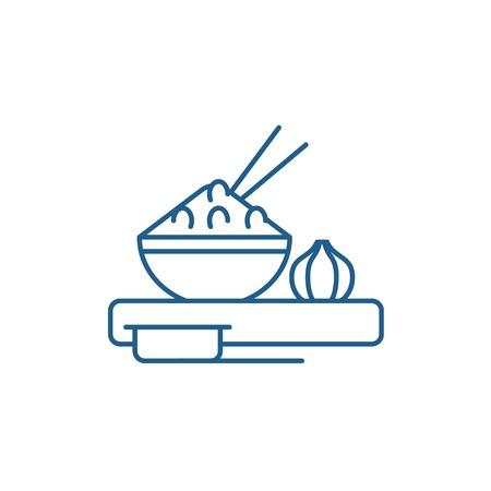 Icône de concept de ligne de cuisine asiatique. Signe de site Web de vecteur plat de cuisine asiatique, symbole du contour, illustration.