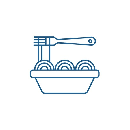 Asian noodles line concept icon. Asian noodles flat  vector website sign, outline symbol, illustration. Illusztráció