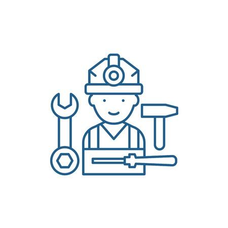 Assembly work line concept icon. Assembly work flat  vector website sign, outline symbol, illustration.