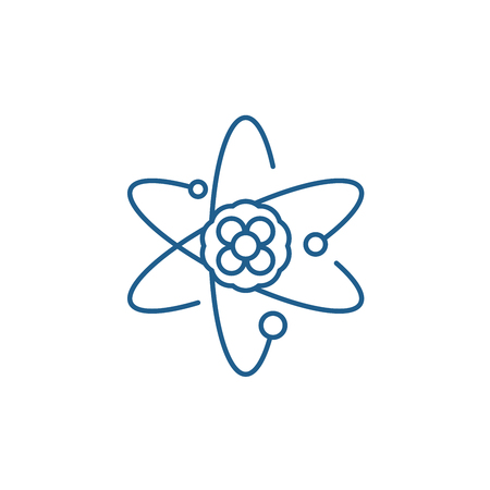 Atom line concept icon. Atom flat vector website sign, outline symbol, illustration.