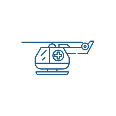 Ambulance helicopter line concept icon. Ambulance helicopter flat  vector website sign, outline symbol, illustration. Çizim