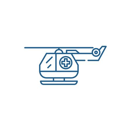 Ambulance helicopter line concept icon. Ambulance helicopter flat  vector website sign, outline symbol, illustration. Illustration