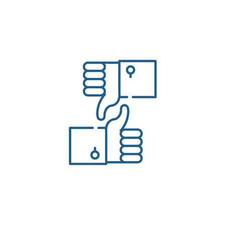 Approval and rejection line concept icon. Approval and rejection flat  vector website sign, outline symbol, illustration.