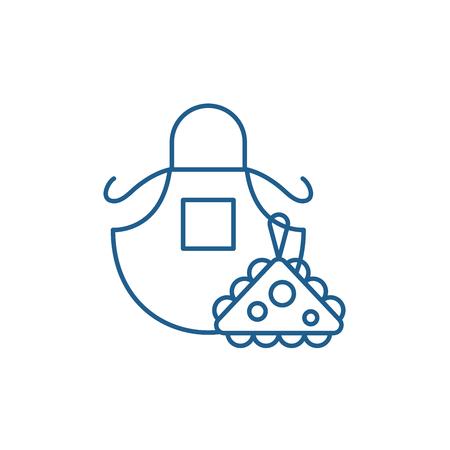 Apron line concept icon. Apron flat  vector website sign, outline symbol, illustration.