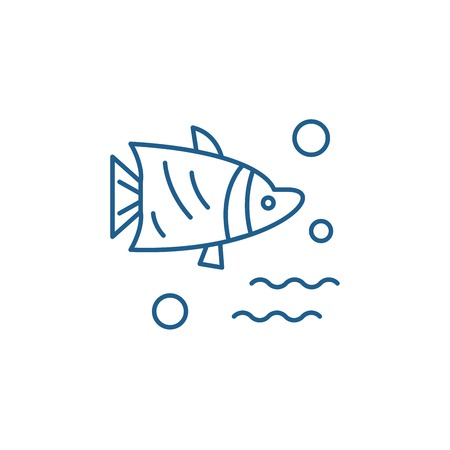 Aquarium fish line concept icon. Aquarium fish flat  vector website sign, outline symbol, illustration. 向量圖像