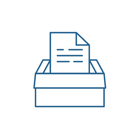 Archive of documents line concept icon. Archive of documents flat  vector website sign, outline symbol, illustration. 向量圖像