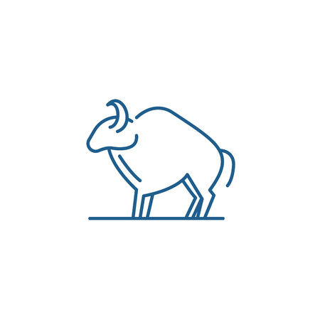 Aries zodiac sign line concept icon. Aries zodiac sign flat  vector website sign, outline symbol, illustration.