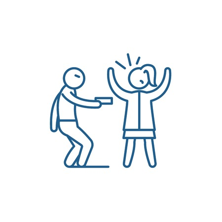 Icono de concepto de línea de robo a mano armada. Robo a mano armada vector plano sitio web de señal, símbolo de contorno, Ilustración.