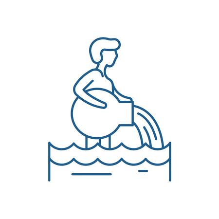 Icône de concept de ligne de signe du zodiaque Verseau. Signe du zodiaque Verseau vecteur site Web signe, symbole du contour, illustration.