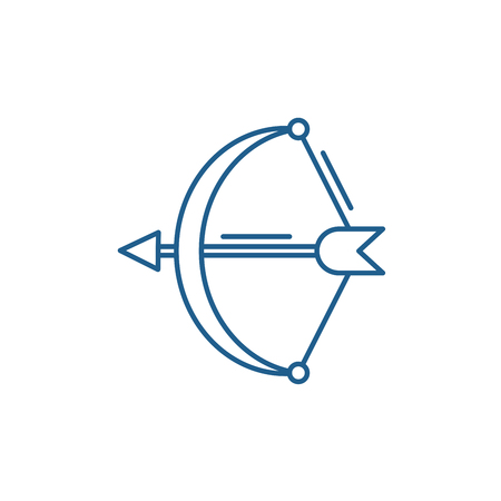 Archer line concept icon. Archer flat vector website sign, outline symbol, illustration.